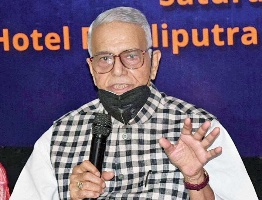 Yashwant Sinha speaks in Patna on Saturday.